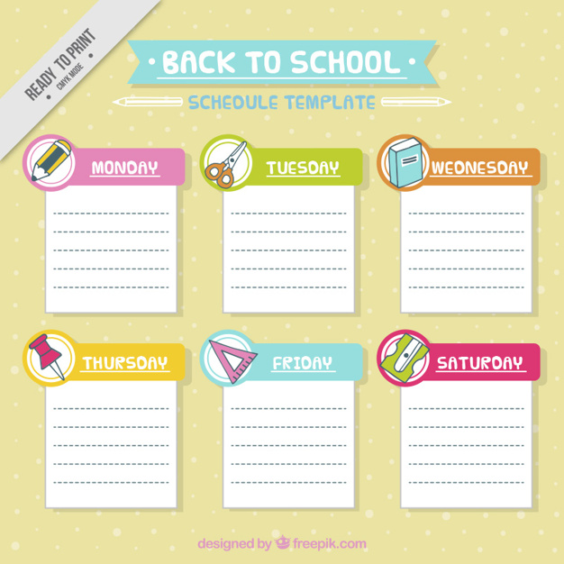School schedule template with materials Vector | Free Download