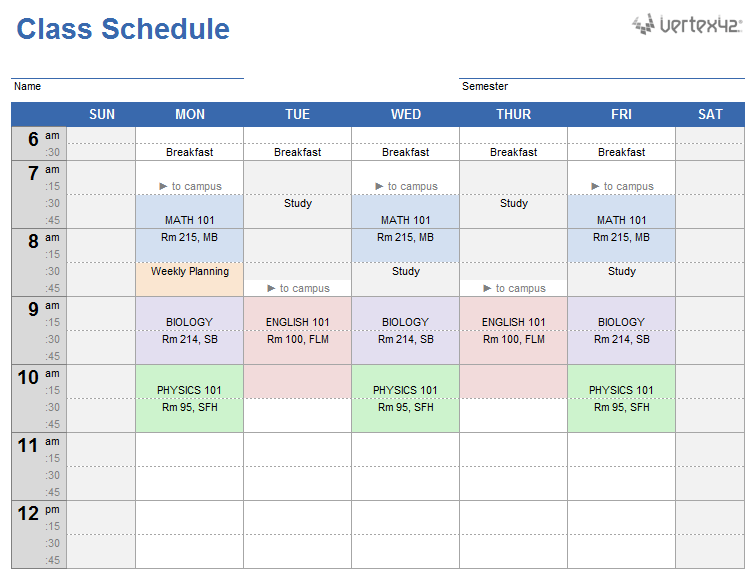 school schedule template excel   Maggi.locustdesign.co