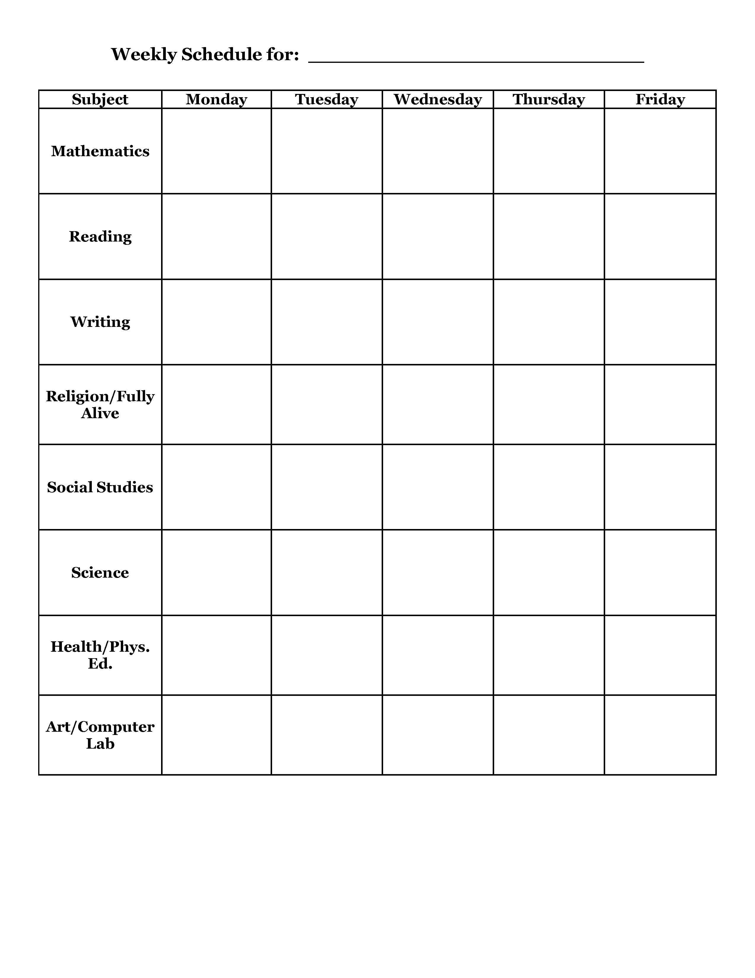 timetable templates for teachers