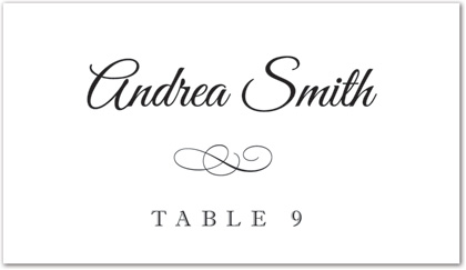 Meandering Flourish Flat Place Card Template Downloadble