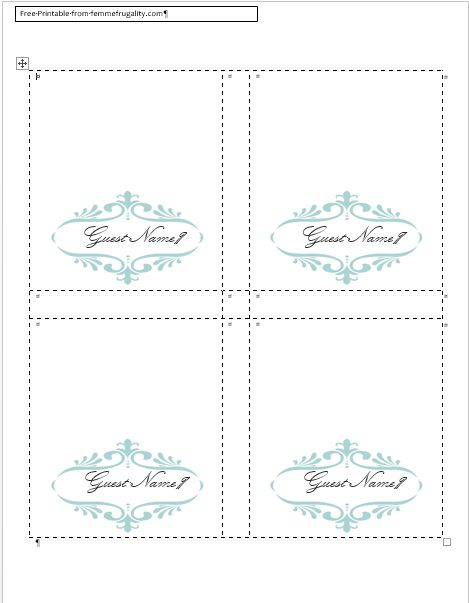 Friday Freebie} Chic Escort Cards | Every Last Detail