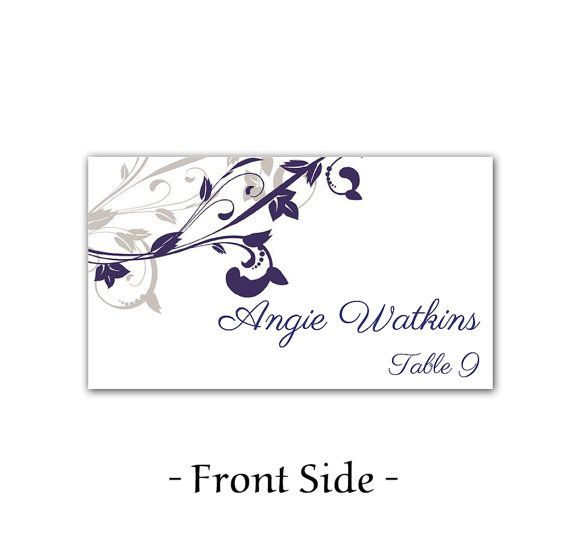 Elegant Black Damask Corners Flat Place Card Template Downloadble