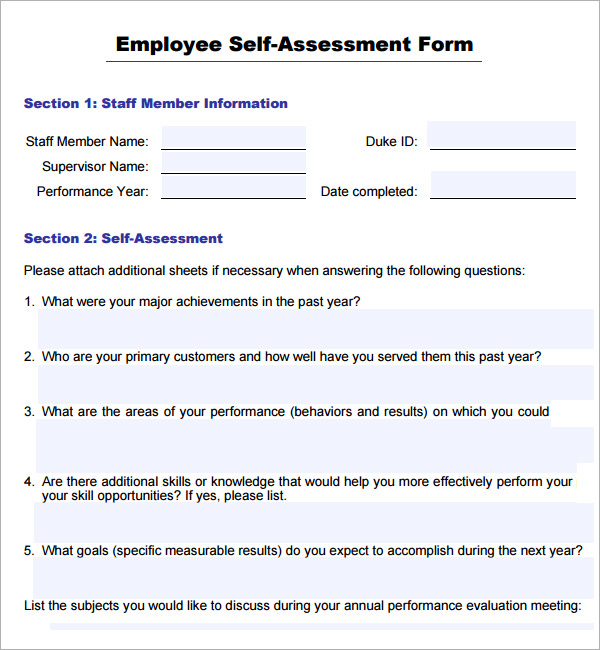 Self Performance Review Examples   turistea.co