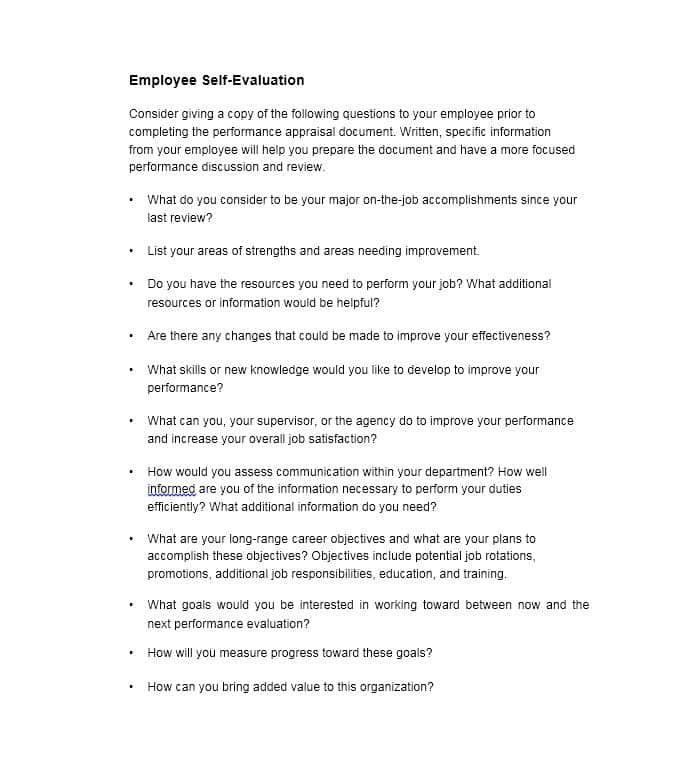 Self performance review sample evaluation examples 02 futuristic