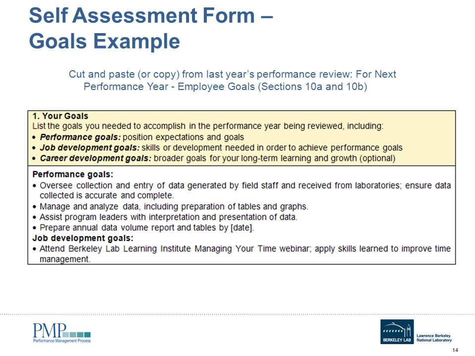 self-performance-review-goals-examples-slide-14 Sample Employee Performance Goals Examples on evaluation form, appraisal wording example, write up, appreciation letter, business perspective, write up template,