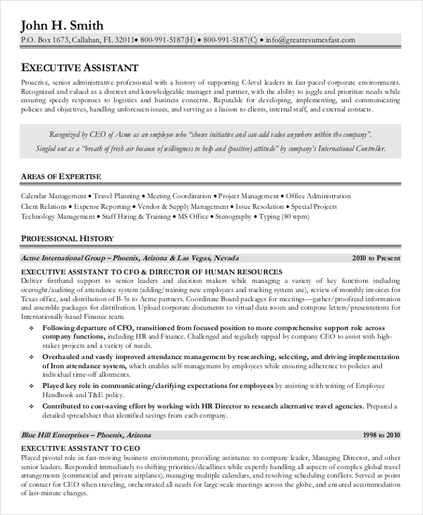 Executive Assistant Resume Examples {Created by Pros