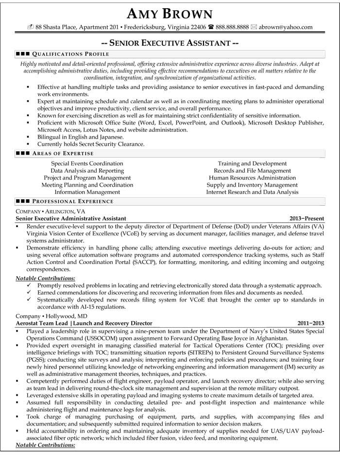 executive assistant resume templates Executive Assistant frances w