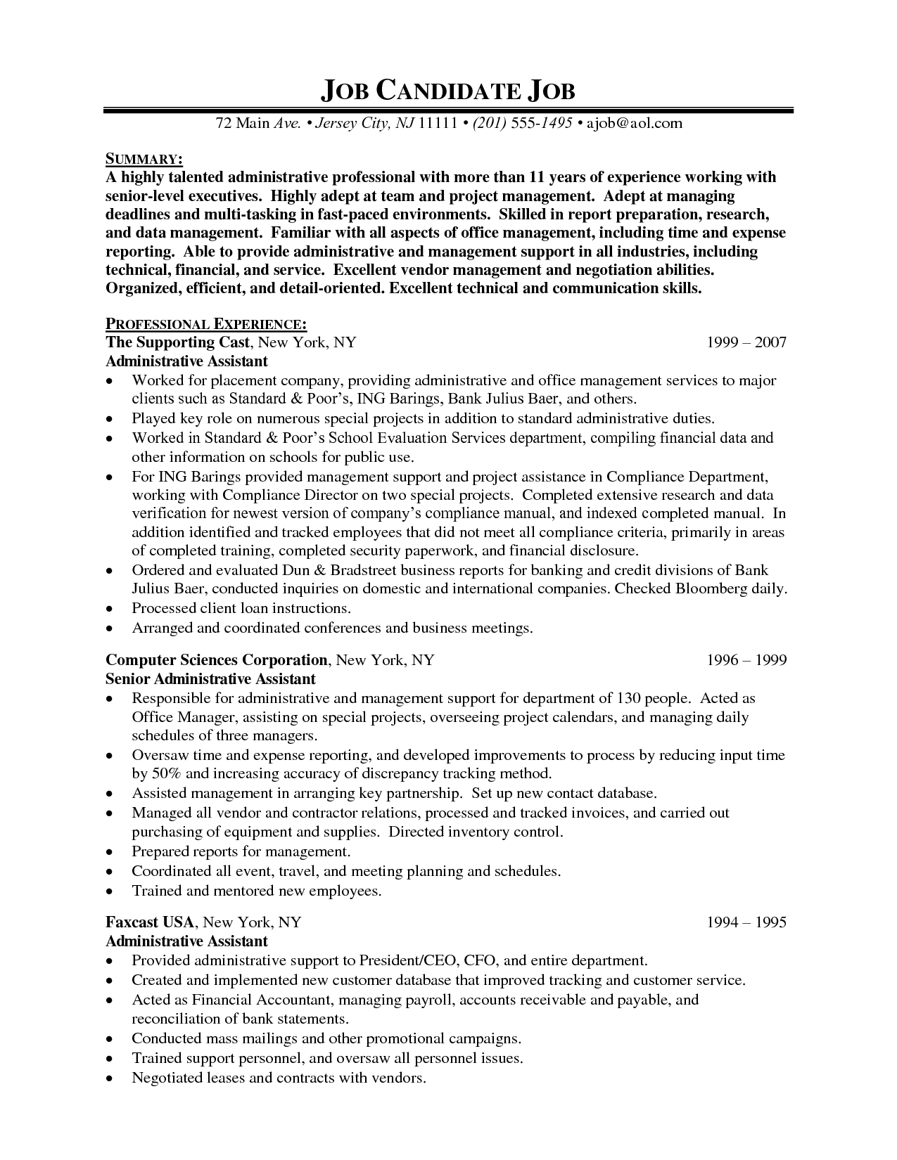 Senior Executive Assistant Resume (Sample) | Resume Samples