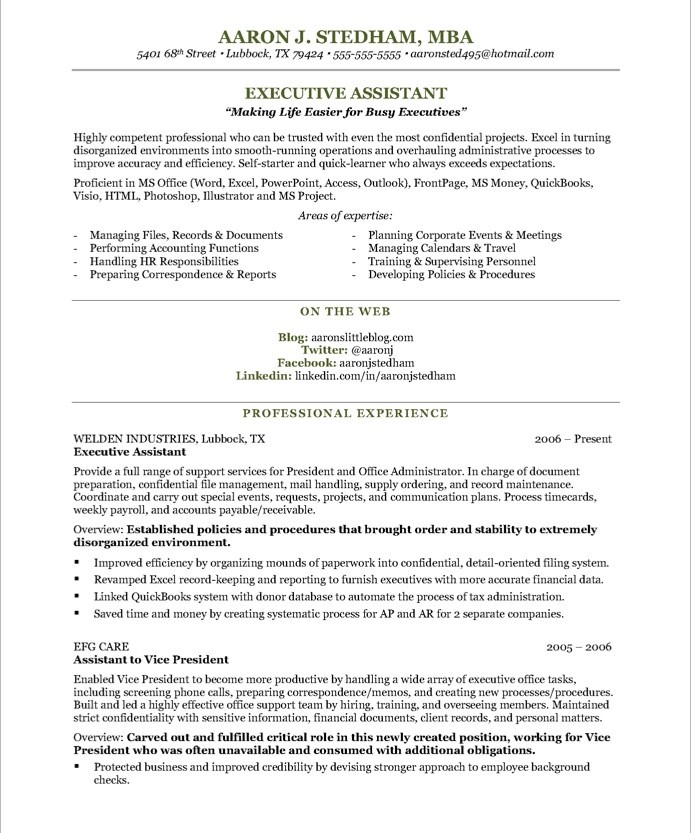 Executive Assistant Resume Sample & Template