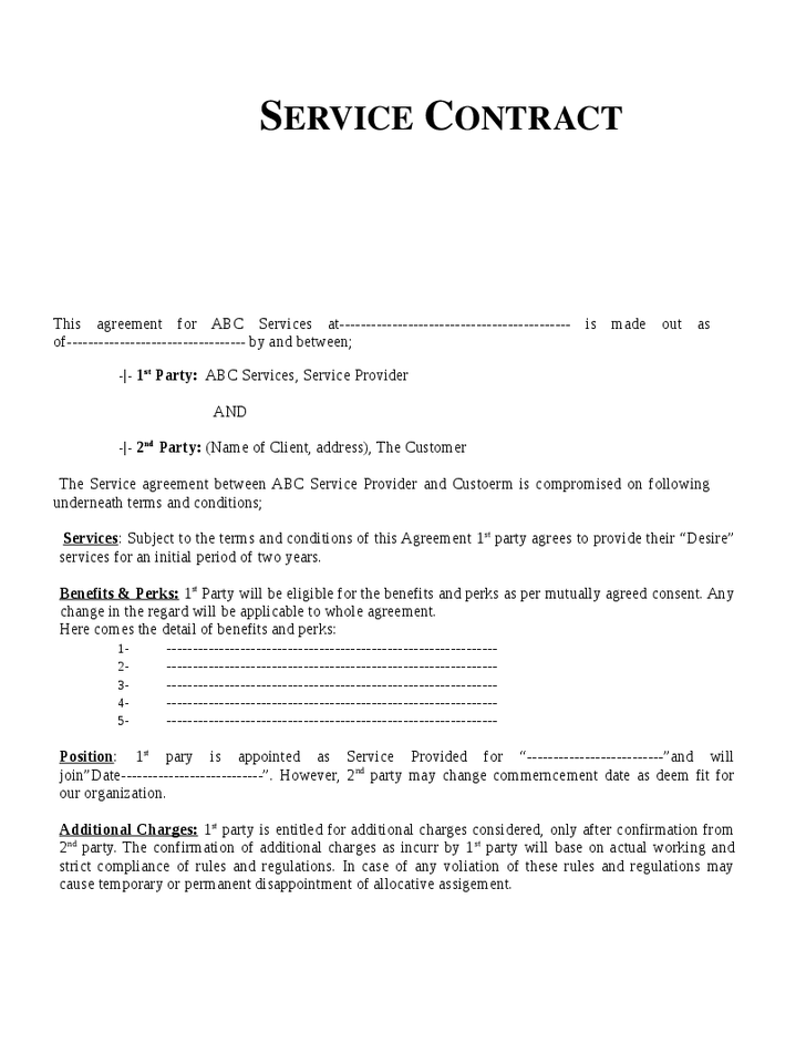 service contract agreement template service agreements templates