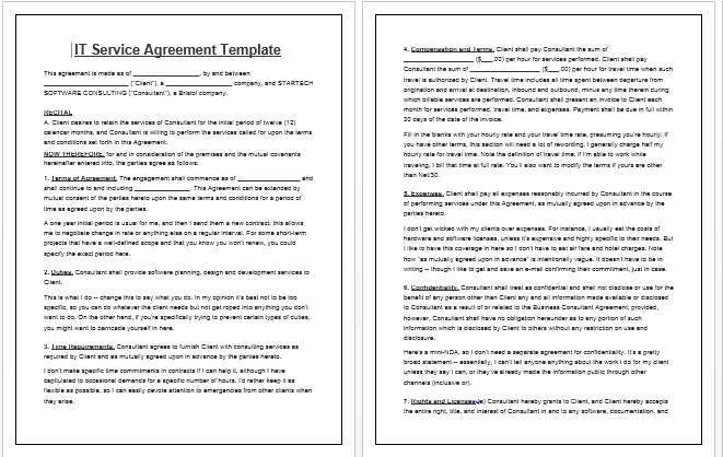 Sample Of Service Contract Agreement With A Consultant Elegant