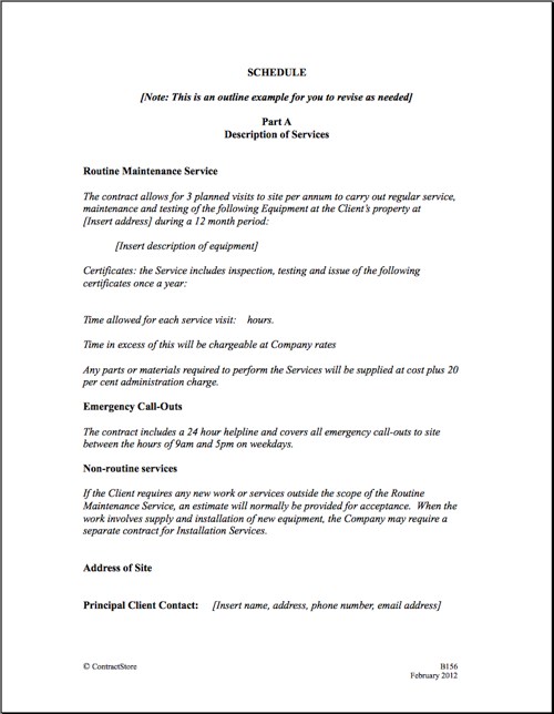 service contract agreement template maintenance service template