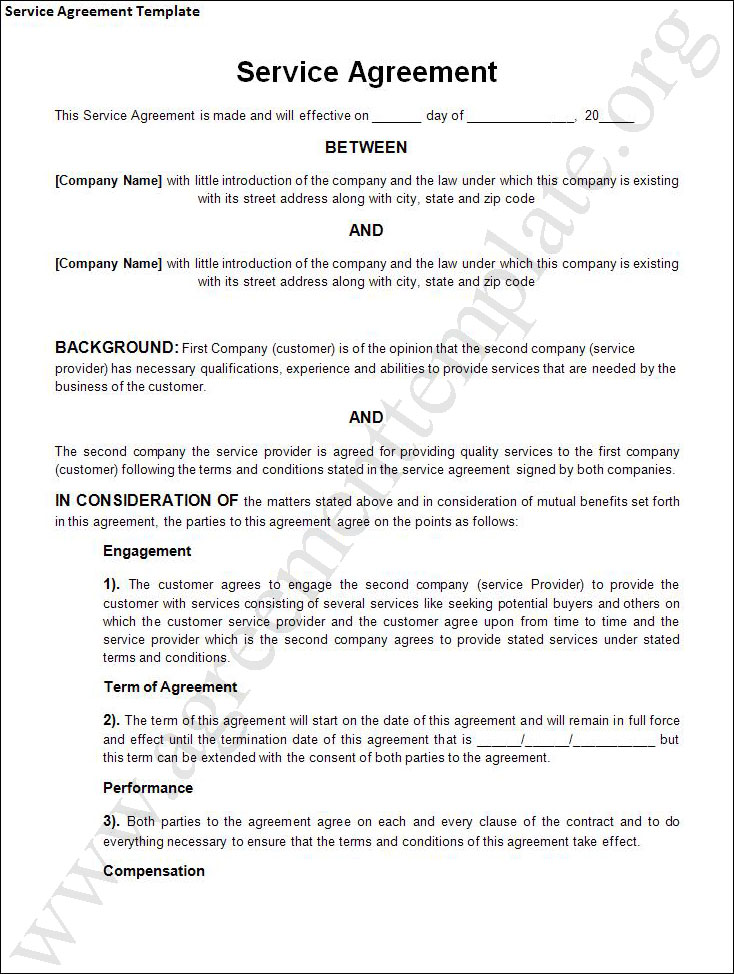 client service agreement template contract agreement template for