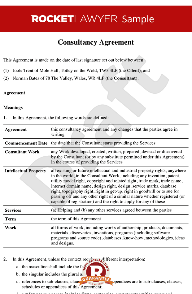 Consultancy Agreement Template   Contractor Agreement