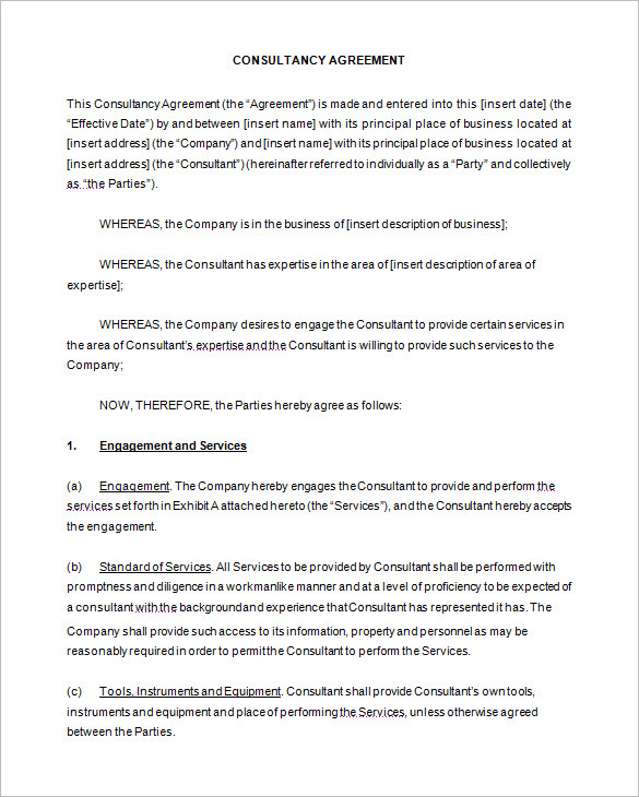 Simple Consulting Agreement Template Emmamcintyrephotography Com