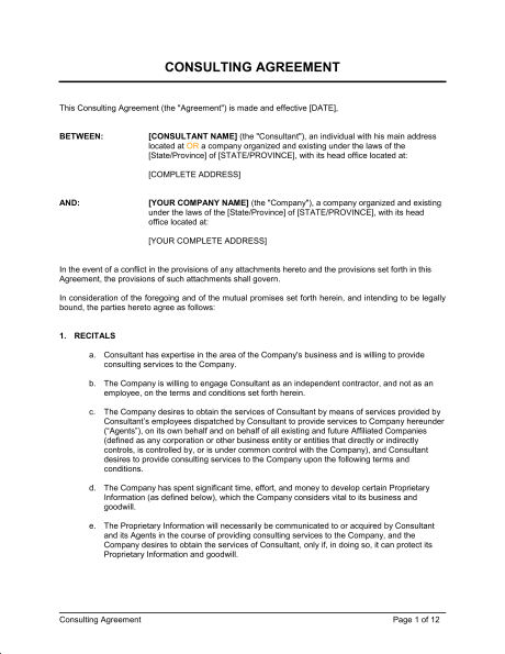 consulting agreement template word consultant agreement template