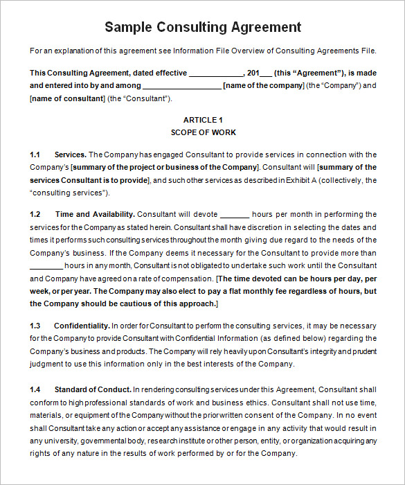 consultant agreement template   Mini.mfagency.co