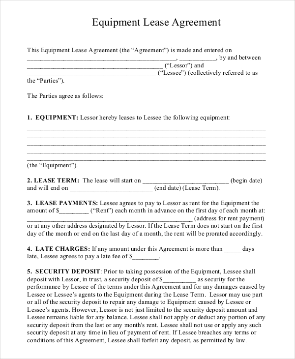 simple equipment rental agreement template free sample equipment
