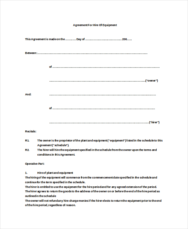 21+ Equipment Rental Agreement Templates   Free Sample, Example