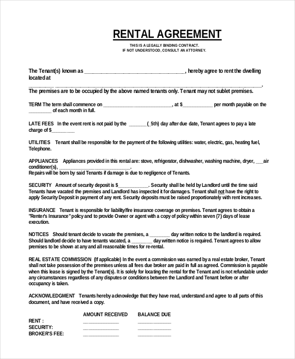one page lease agreement template for download simple one page