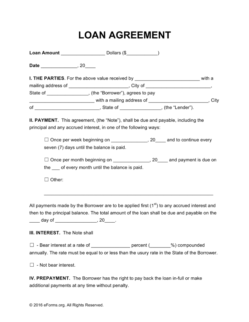 Free Loan Agreement Templates   PDF | Word | eForms – Free