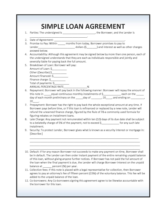 Loan Contract Template – 27+ Examples in Word, PDF | Free