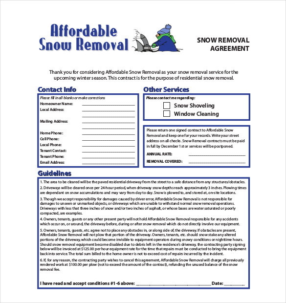 Snow Plowing Contract Template   20+ Free Word, PDF Documents