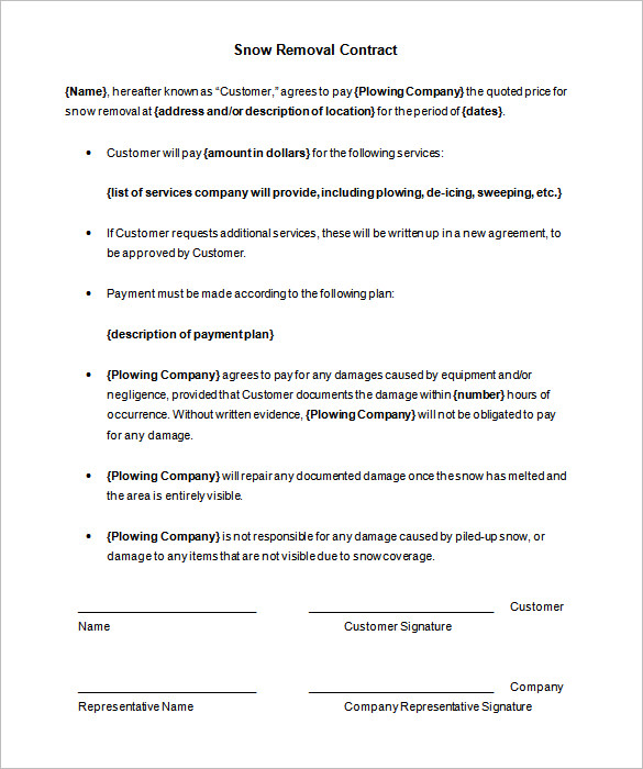 Snow Plowing Contract Template 20 Free Word PDF Documents