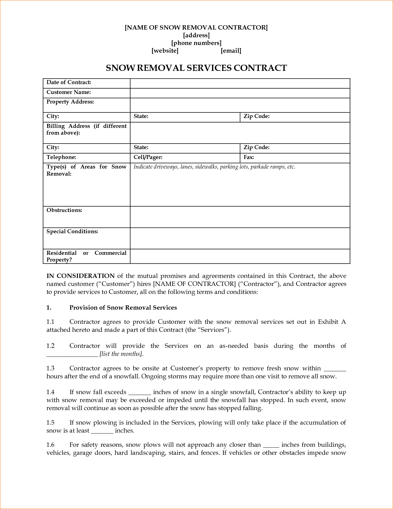 8+ Snow Removal Contract Template | Timeline Template