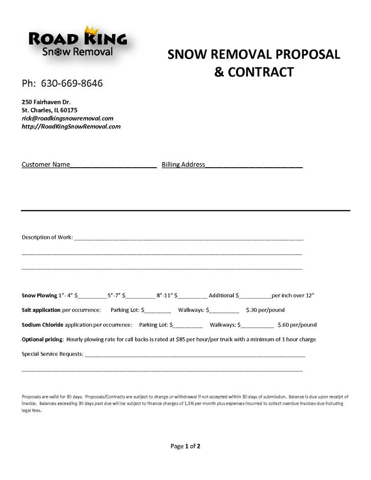 Snow Removing Contracts Templates Removal Contract Template Free