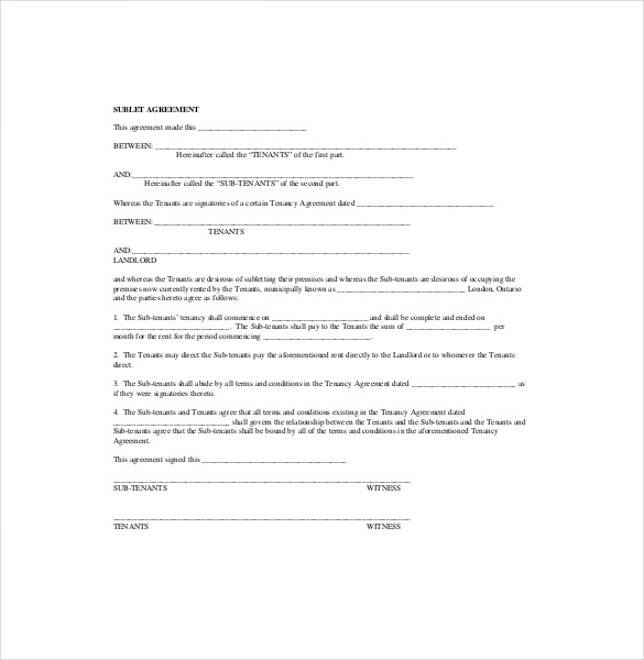 10+ Sublease Agreement Templates– Free Sample, Example, Format