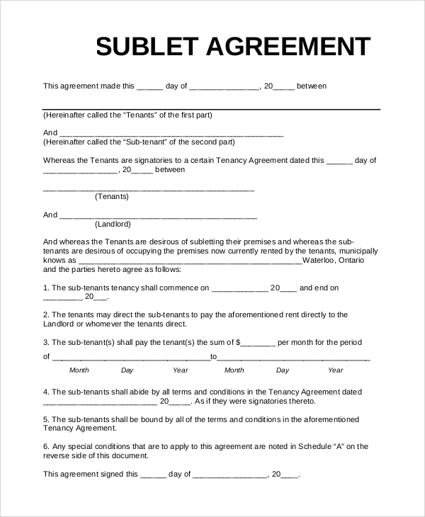 subletting agreement template sample sublet agreement 10 examples
