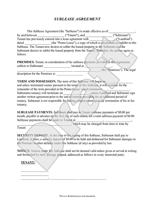 Subtenant Agreement Template Sublease Form Sublet