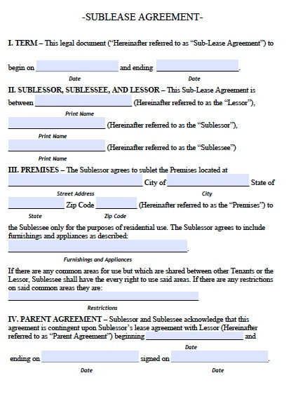 template for sublease agreement residential sublease agreement