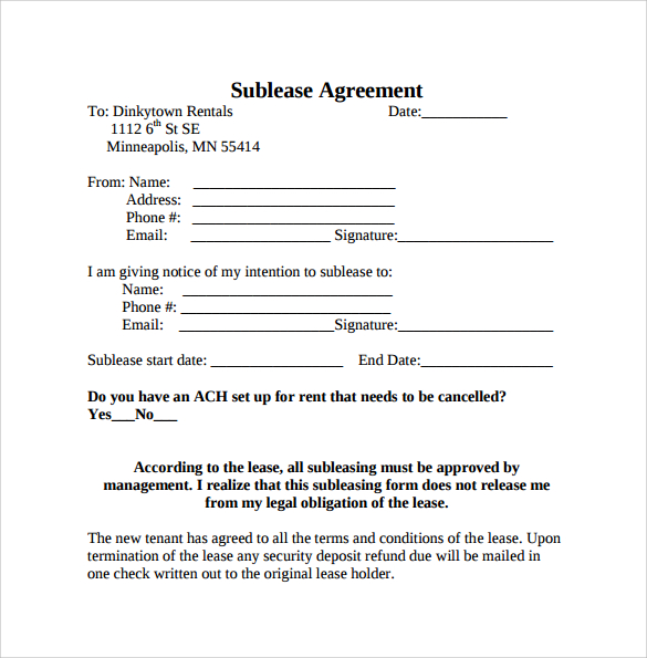 Basic Sublet Agreement Template   Swineflutrackingmap.com