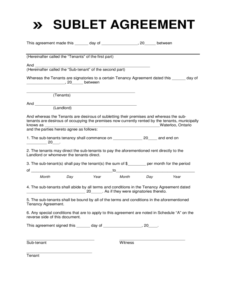 basic sublet agreement template subletting agreement template