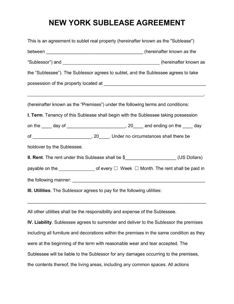Free New York SubLease Agreement Template   PDF | Word | eForms