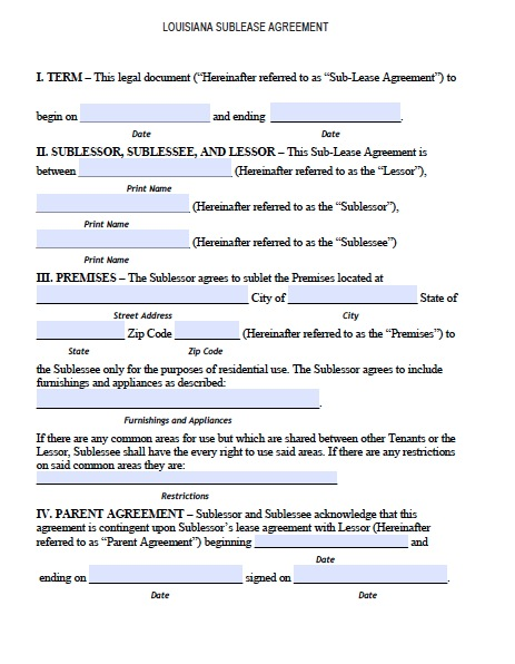 subletting lease agreement template sublease agreement free