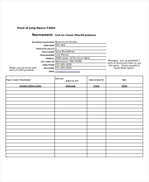 Excel Forms Templates T Shirt Order Form Template Excel