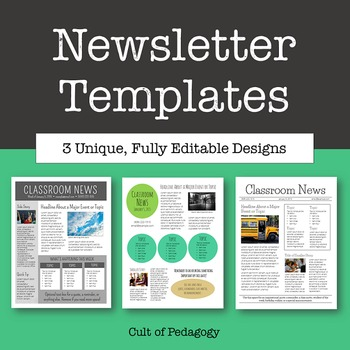 Newsletter Templates   Editable by Cult of Pedagogy | TpT
