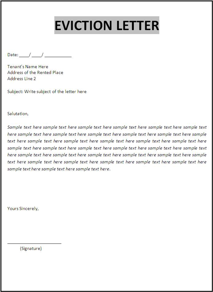 Eviction Letters For Tenants Eviction Notice Template 31 Free Word