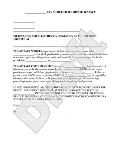 Blank Eviction Notice Form | Free Word Templates   tenant eviction