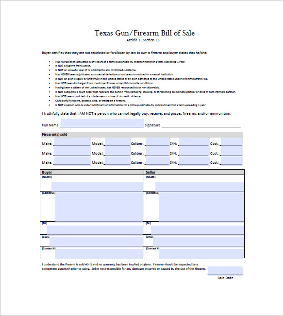 Bill Of Sale Form Texas Firearm Bill Of Sale Templates   Fillable