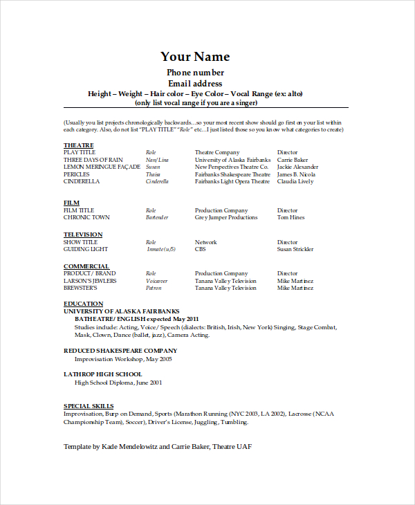 Theater Resume Theatre Resume Example On Resume Profile Examples