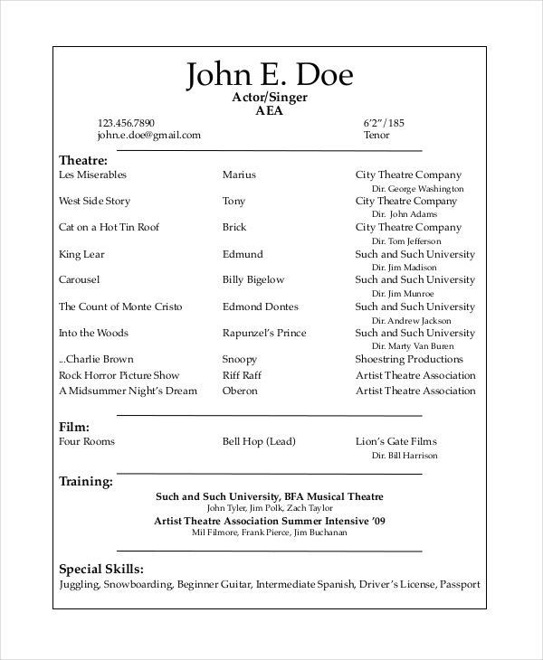 Resume. Theatre Resume Example   Adout Resume Sample