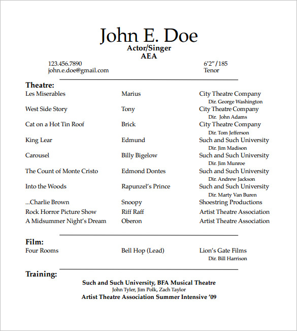Theatre Resume Template 10 Acting Templates Free Samples | amypark.us