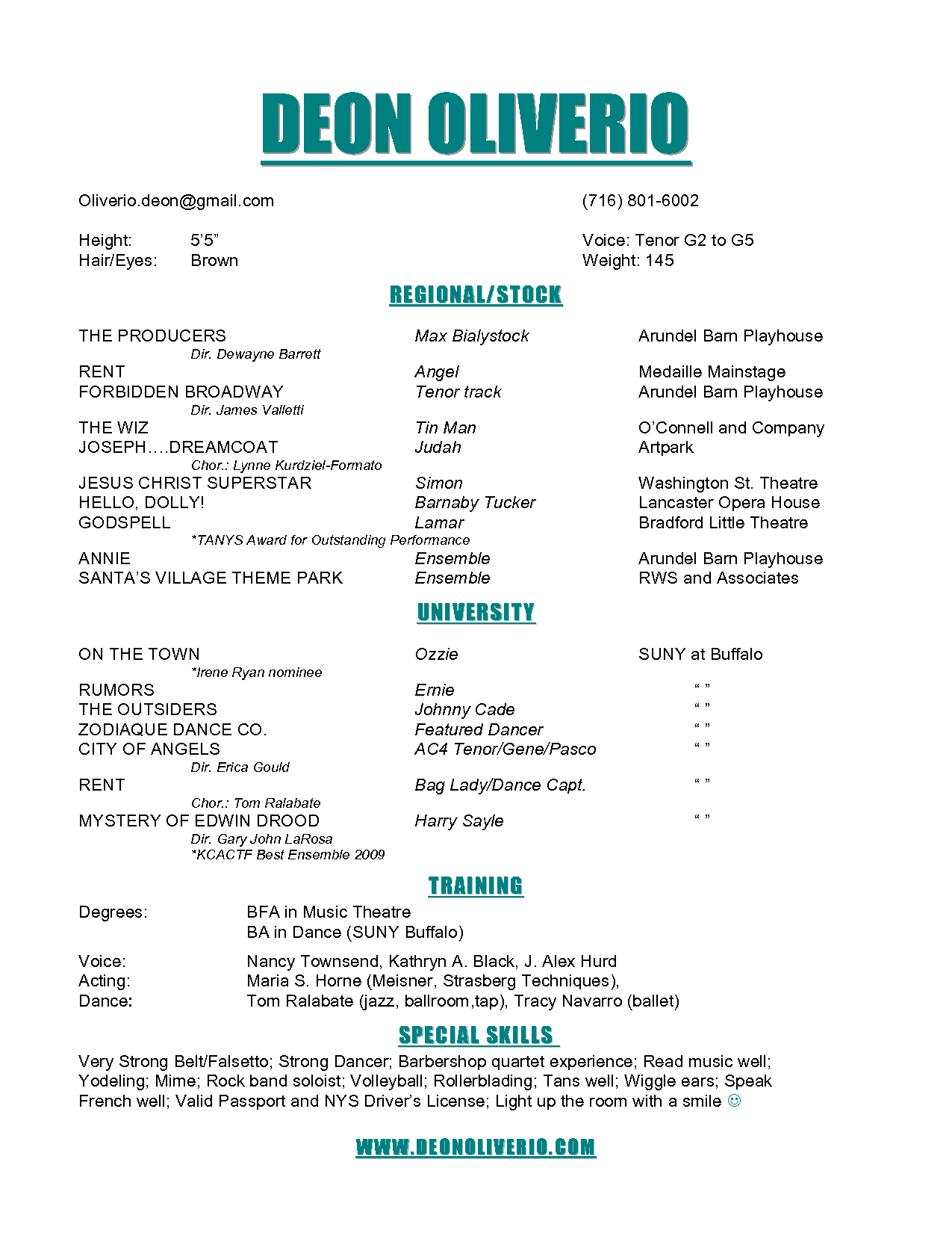 Theatre Resume Template 19 Commercial Actor   techtrontechnologies.com
