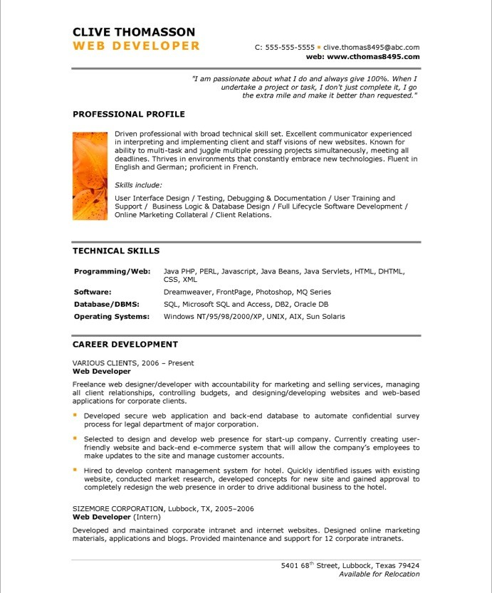 web design resume samples   Mini.mfagency.co