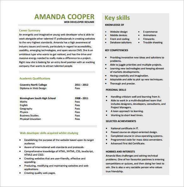 resume format for web designer   Mini.mfagency.co