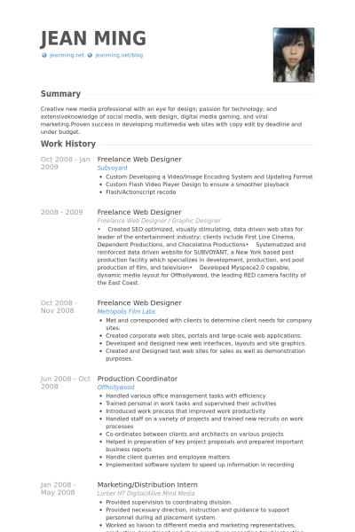 Freelance Web Designer Resume samples   VisualCV resume samples